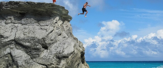 guy jumping off cliff
